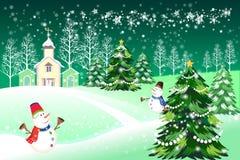 Vector de pijnboomboom van de Kerstmissneeuwvlok, groene kaartillustratie - vectoreps10 Royalty-vrije Stock Afbeelding