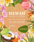 Vector de reisillustratie van Hawaï met tropische bloemen De zomermalplaatje Toevlucht door het Overzees Zonnige vakanties stock illustratie