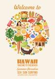 Vector de reisillustratie van Hawaï De zomermalplaatje Toevlucht door het Overzees Zonnige vakanties royalty-vrije illustratie