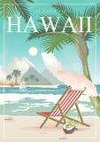 Vector de reisillustratie van Hawaï De zomermalplaatje Toevlucht door het Overzees Zonnige vakanties in retro stijl vector illustratie