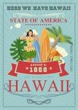 Vector de reisillustratie van Hawaï De zomermalplaatje Toevlucht door het Overzees Zonnige vakanties in uitstekende stijl stock illustratie