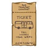 Vector de Reiskaart van de Beeldverhaal Bruine Bus Openbaar vervoerkaartje Royalty-vrije Stock Foto