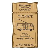 Vector de Reiskaartje van de Beeldverhaal Bruin Tram Royalty-vrije Stock Afbeeldingen