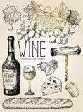 Vector de rode wijnreeks van de inkthand getrokken stijl vector illustratie