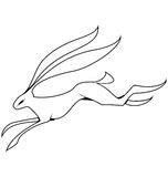 Vector de salto de las liebres blancos y negros Imágenes de archivo libres de regalías