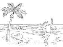 Vector de salto feliz del ejemplo del bosquejo del muchacho del paisaje blanco negro gráfico de la playa de la costa de mar libre illustration