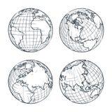 Vector de schetsillustratie van de aardeplaneet De hand getrokken reeks van de krabbelbol stock illustratie