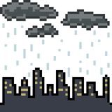 Vector de stads bewolkte regen van de pixelkunst Royalty-vrije Stock Afbeeldingen