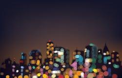 Vector de stadsachtergrond van de bokehnacht Royalty-vrije Stock Fotografie