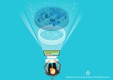 Vector de technologiezakenman van de Werkenplaatsen met globaal succes vlak ontwerp Royalty-vrije Stock Afbeelding