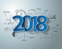 Vector de tekstontwerp van 2018 op tekeningsgrafieken en grafieken Stock Foto