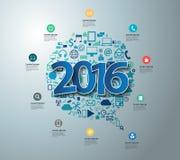 Vector de tekstontwerp van 2016 op vlakke toepassingspictogrammen stock illustratie