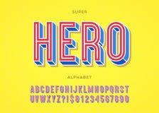 Vector de typografie kleurrijke stijl van de heldendoopvont voor embleem Stock Foto
