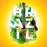 Vector de typografieillustratie van Brazilië met toekanvogel, akoestische gitaar en bloem op tropische installatiesachtergrond On royalty-vrije illustratie