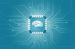 Vector de un circuito de ordenador implantado en cerebro humano stock de ilustración