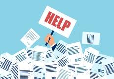 Vector de un hombre de negocios en la necesidad de la ayuda conforme a muchas cuentas y documentos ilustración del vector