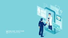 Vector de un paciente que encuentra a un doctor en línea usando una tecnología del smartphone stock de ilustración