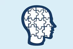 Vector de una cabeza formada rompecabezas stock de ilustración