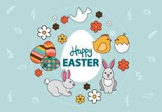 Vector de una tarjeta de pascua colorida con el conejito, huevos pintados, paloma, flores libre illustration