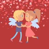 Vector de Valentine Red Card Dating Girl y del muchacho ilustración del vector