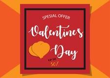 Vector de verkoop van de valentijnskaartendag sinaasappel als achtergrond Royalty-vrije Stock Foto's