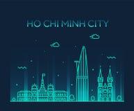 Vector de Vietnam del horizonte de Ho Chi Minh City Saigon stock de ilustración