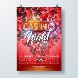 Vector de vliegerillustratie van de Casinonacht met het gokken ontwerpelementen en het glanzende neonlicht van letters voorzien o Stock Foto