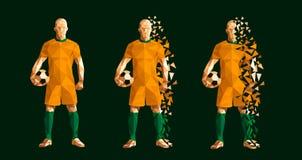 Vector de voetbalster laag-polystijl van het illustratievoetbal concep vector illustratie
