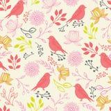 Vector de vogels en de bloemen naadloos patroon van de lijnkunst royalty-vrije illustratie