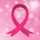 Vector de voorlichtings roze lint van Borstkanker Stock Afbeeldingen