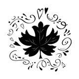 Vector de vormdruk van het esdoornblad op wit verfraaid hand getrokken romantisch abstract ornament royalty-vrije illustratie