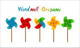 Vector de windmolenorigami van de klemkunst colorfull stock fotografie