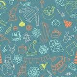 Vector de winter naadloos patroon met sneeuwman, sweater en sneeuwvlokken Stock Foto