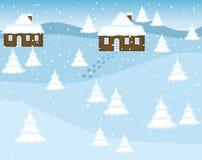 Vector de Winterlandschap met Bomen en Huizen stock illustratie