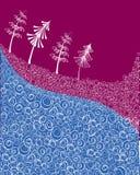 Vector de wintersamenvatting met Kerstbomen Vector Illustratie
