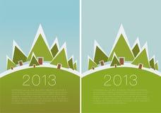 Vector de winterscène. - beweging veroorzakende Kerstmis. Stock Afbeeldingen