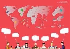 Vector de Zakenmanbrainstorming van het teamwerk die globaal te denken en vergadering met wereldkaarten in bedrijfstoepassingen v Stock Foto