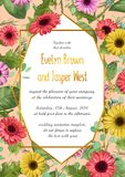 Vector de zomer bloemenillustratie van huwelijksuitnodiging, greetin royalty-vrije illustratie