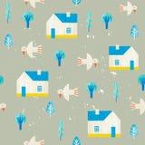 Vector de zomer kleurrijke illustratie, het reizen, vakantie Huizen, bomen, dorp Royalty-vrije Stock Afbeeldingen
