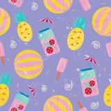 Vector de zomer kleurrijke illustratie, het reizen, vakantie Naadloos patroon, achtergrond, stof, document het verpakken Strand Royalty-vrije Stock Foto