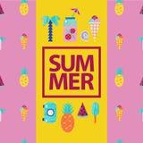Vector de zomer kleurrijke illustratie, het reizen, vakantie Speld op stijl, retro affiche, kaart met palm, ijs, limonade Stock Foto
