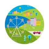 Vector de zomer kleurrijke illustratie, het reizen, vakantie Stad, stadsmening in cirkel met meer en ferriswhee Stock Foto