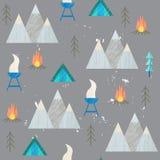 Vector de zomer kleurrijke illustratie, het reizen, vakantie Wandeling, bergen, barbecue Stock Afbeeldingen