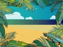 Vector de Zomer Tropische Achtergrond met Strand, Overzees, Palmbladen Royalty-vrije Stock Foto