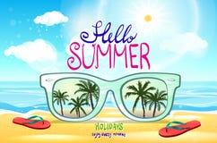 Vector de zomer vaag strand, met zonnebril, achtergrondillustratievector Royalty-vrije Stock Fotografie