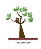 Vector de zomerachtergrond met boom en uil royalty-vrije illustratie