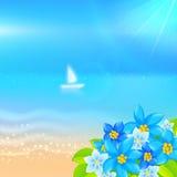 Vector de zomerachtergrond met boot in het overzees Stock Foto