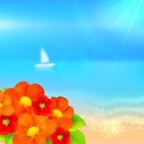 Vector de zomerachtergrond met boot in het overzees Stock Foto's