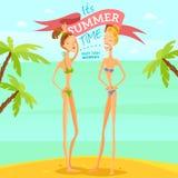 Vector de zomermeisjes royalty-vrije stock foto