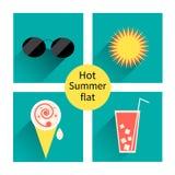 Vector de zomerpictogrammen. Vlakke ontwerptendens. Retro. Stock Fotografie